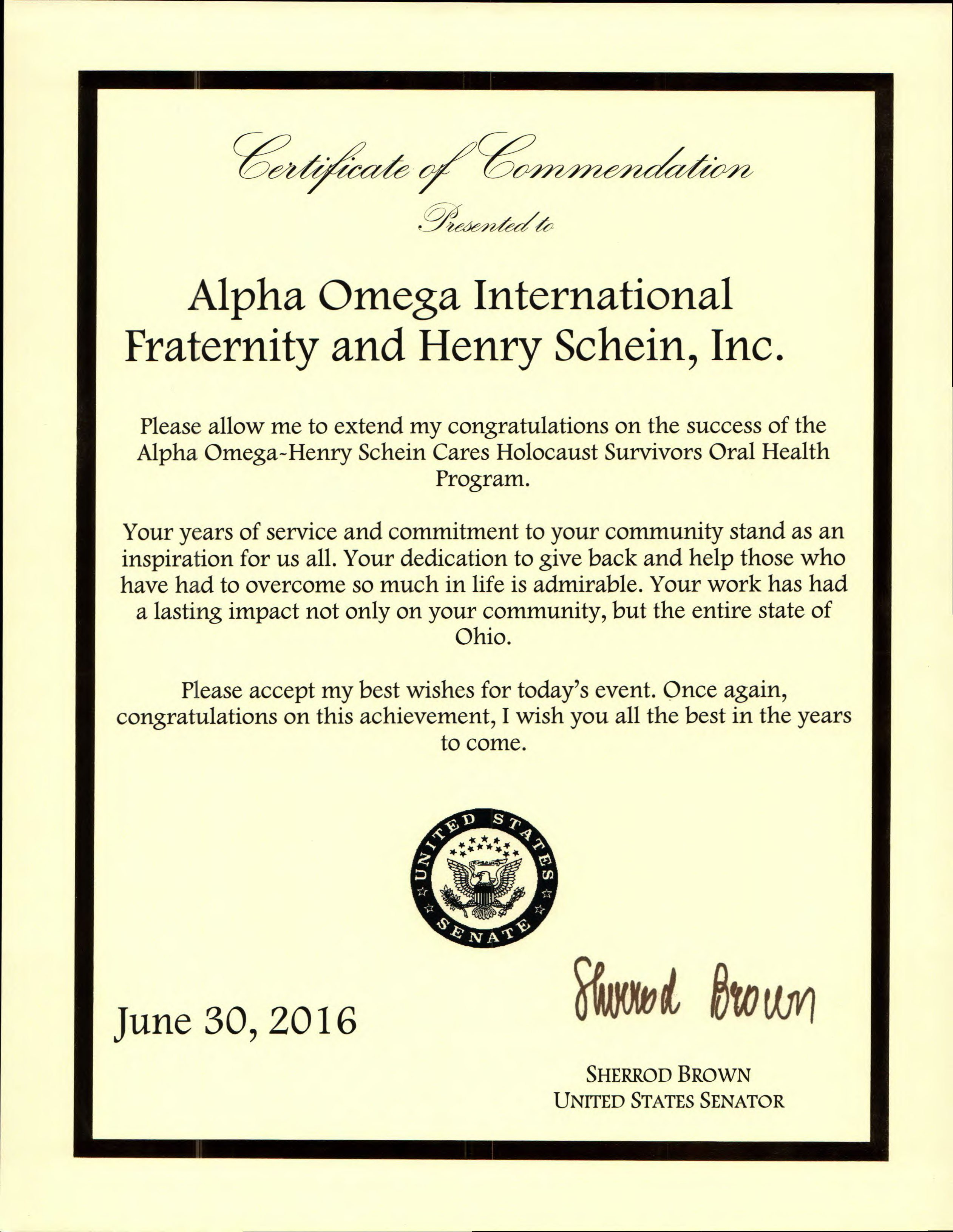 U.S. Senator Sherrod Brown Gives Proclamation to AO Columbus Chapter